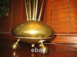 Vintage Atomic Space Age Flying Saucer Table Lamp MCM Mid Century Modern Light