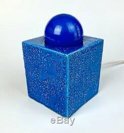 Vintage Bitossi Aldo Londi & Cube Lamp Light Rimini Blue Ceramic Mid Century