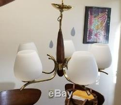 Vintage Brass Danish Modern Teak/walnut Ceiling Light mid century chandelier