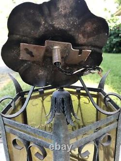 Vintage CEILING LIGHT FIXTURE Gothic Hanging Metal pendant lamp mid century iron