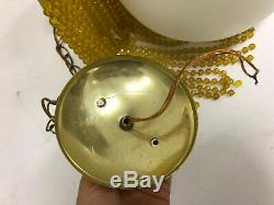 Vintage CEILING LIGHT FIXTURE mid century modern yellow hanging swag lamp 1960s