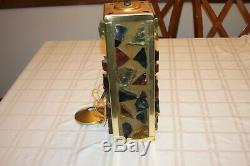 Vintage Colorful Chunk Glass Mid-century Pendant Lights Lamps Brass Rock Glass