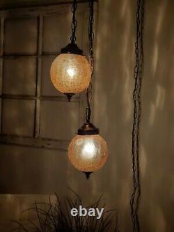 Vintage Crackle Amber 2 Globe Swag Light Hanging Plug In Lamp Glass Mid Century