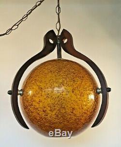 Vintage Danish MID Century Atomic Swag Lucite Globe W Walnut Frame Light