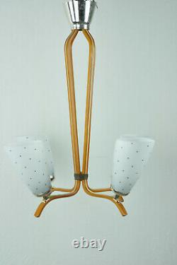 Vintage European Mid Century Wooden Pendant Ceiling Lamp Light Chandelier