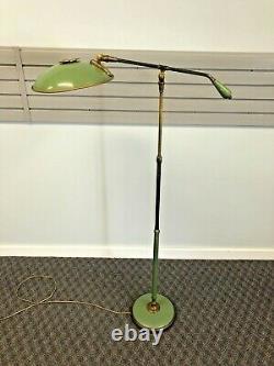 Vintage FLOOR LAMP mid century modern light metal brass Lightolier THURSTON 50s