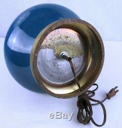 Vintage Genie Bottle Blue Green Drip Glaze Mid Century Modern Table Lamp Light