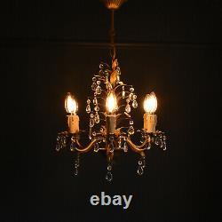 Vintage Gilt Chandeliers x 2 Available Original Mid Century Tole Pendant Light