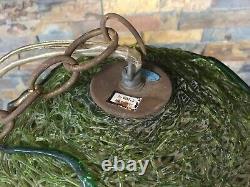 Vintage Green Lucite Spaghetti Swag Light Lamp Globe Mid Century Hanging 43