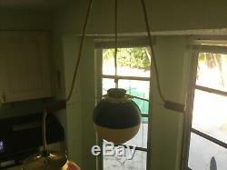 Vintage Heifetz Rotaflex Pendant Lamp Mid Century Triple Light