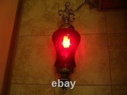 Vintage Hollywood Regency Hanging Lamp Light Swag RED CRACKLE GLASS Mid Century