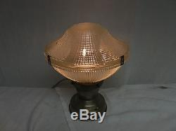 Vintage Industrial Barn old ceiling Holophane shade mid century touch light