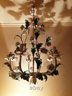 Vintage Italian MidCentury 5-Light Tole Chandelier w White Porcelain Roses