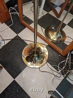 Vintage Laurel Floor Lamp Mushroom Shade Brass Tulip Light Mid Century Modern
