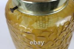 Vintage Lawrin Mid Century Textured Glass Brass Cylinder Hanging Ceiling Light