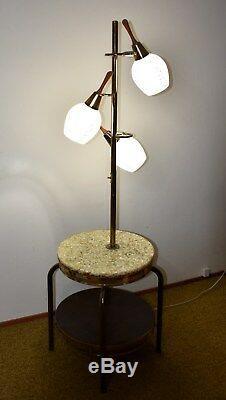 Vintage Lighted Side Table Mid Century 1950s