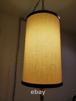 Vintage Linen Drum Shade Swag Lamp with Teak Detail Hanging Light Mid Century