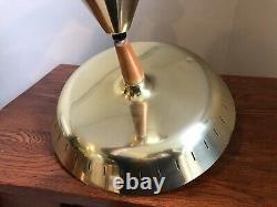 Vintage MCM Mid Century Modern Retractable UFO Pull-Down Brass Light Fixture