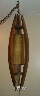 Vintage MID CENTURY MODERN BENT WOOD SWAG LAMP light TEAK retro EAMES ERA danish