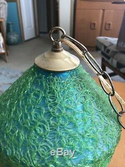 Vintage MID-CENTURY MODERN Spaghetti Globe HANGING PENDANT LAMP Swag Light EAMES