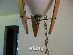 Vintage MID Century Danish Modern Light Walnut Etched Glass Oblong Swag Lamp