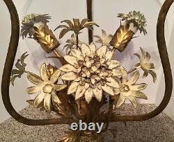 Vintage MID Century Hollywood Regency Lighted Tole Gilt Metal Table Italy Kogl
