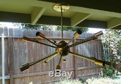 Vintage MID Century Modern 16 Light Sputnik Ceiling Lamp Fixture Nice Works Nr
