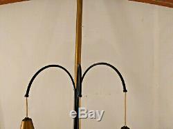 Vintage MID Century Modern 3 Brass Gold Hanging Drop Cylinder Pole Lamp Light