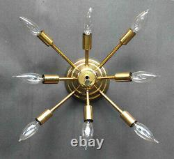 Vintage MID Century Modern Brass Sputnik 8 Arm Light Flush Mount Ceiling Fixture