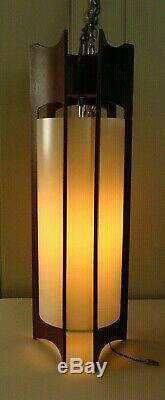Vintage MID Century Modern Danish Teak Hanging Ceiling Light Fixture Swag Lamp