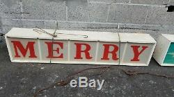 Vintage Merry Christmas Lighted Sign Electric Mid Century Old General Store Sign