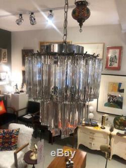 Vintage Mid Century 1960's Chandelier Venini Italian 3 Light 3 Tier Glass