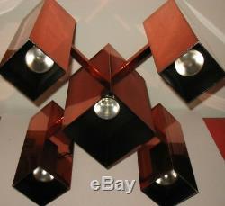 Vintage Mid Century 70s Robert Sonneman Copper Chandelier Lamp Light Disco