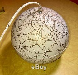 Vintage Mid Century Atomic Modern Pendant Light Eye Round Sphere White & Gold