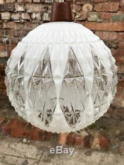Vintage Mid Century Atomic Teak Brass Pendant Opaline Globe Ceiling Light Retro