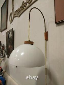 Vintage Mid Century DANISH MODERN Hanging Light TEAK Wall Mount PENDANT Lamp MCM