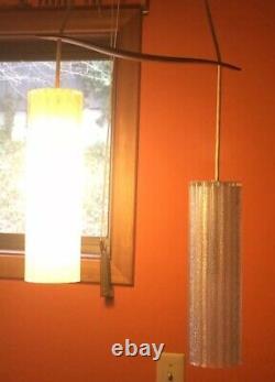 Vintage Mid Century Danish Modern Hanging Light TEAK Ceiling Mount PENDANT Lamp