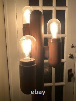 Vintage Mid Century Danish Modern Modeline Cactus Lamp Carved Wood Floor Light