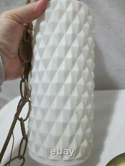 Vintage Mid Century Diamond Glass Hanging Light Fixture Double Pendant Swag lamp