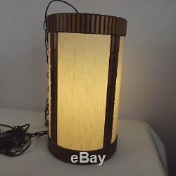 Vintage Mid Century Drum Lamp Hanging Swag Light With Chain Tiki Wood Trim