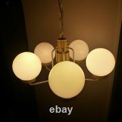 Vintage Mid Century EJS Lighting Atomic 5 Arm Orb Sputnik Light Fixture yellow