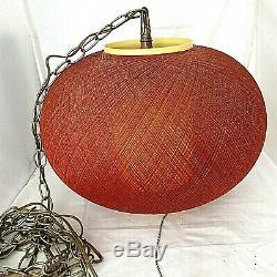 Vintage Mid-Century Fiberglass Orb Lamp Globe Swag Ceiling Light Woven Spun