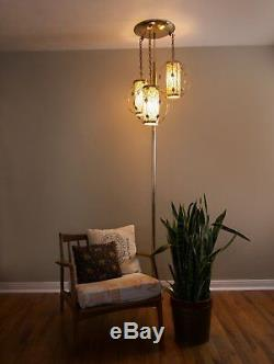 Vintage Mid Century Glam Tension Pole Lamp Light Fixture Floor to Ceiling Light