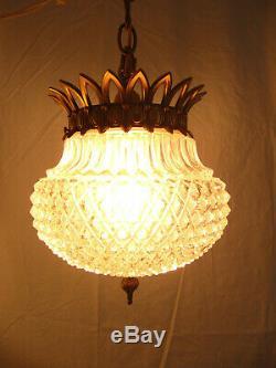 Vintage Mid Century Hollywood Regency Pineapple Pendant Light Ceiling Fixture
