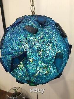 Vintage Mid Century Lucite Globe Swag Lamp Chunky Blue Light 13 MadMen MOD