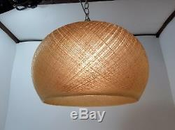 Vintage Mid Century Mod SPAGHETTI Spun Fiberglass Woven Lucite SWAG LAMP Light