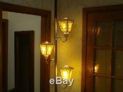 Vintage Mid Century Modern 1960s Tension Pole Floor Lamp Light Retro w Lanterns