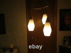 Vintage Mid Century Modern 3 Bulb Hanging Pendant Light Fixture, Retro, Nice