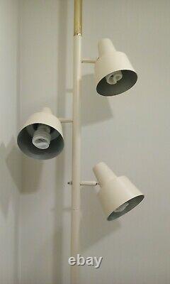 Vintage Mid Century Modern 3 Light Floor Tension Pole Lamp 8 ft Ceiling Ivory