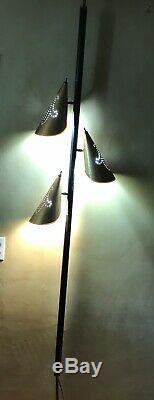 Vintage Mid Century Modern Atomic 3 Light Tension Pole Floor Lamp Retro 1960's